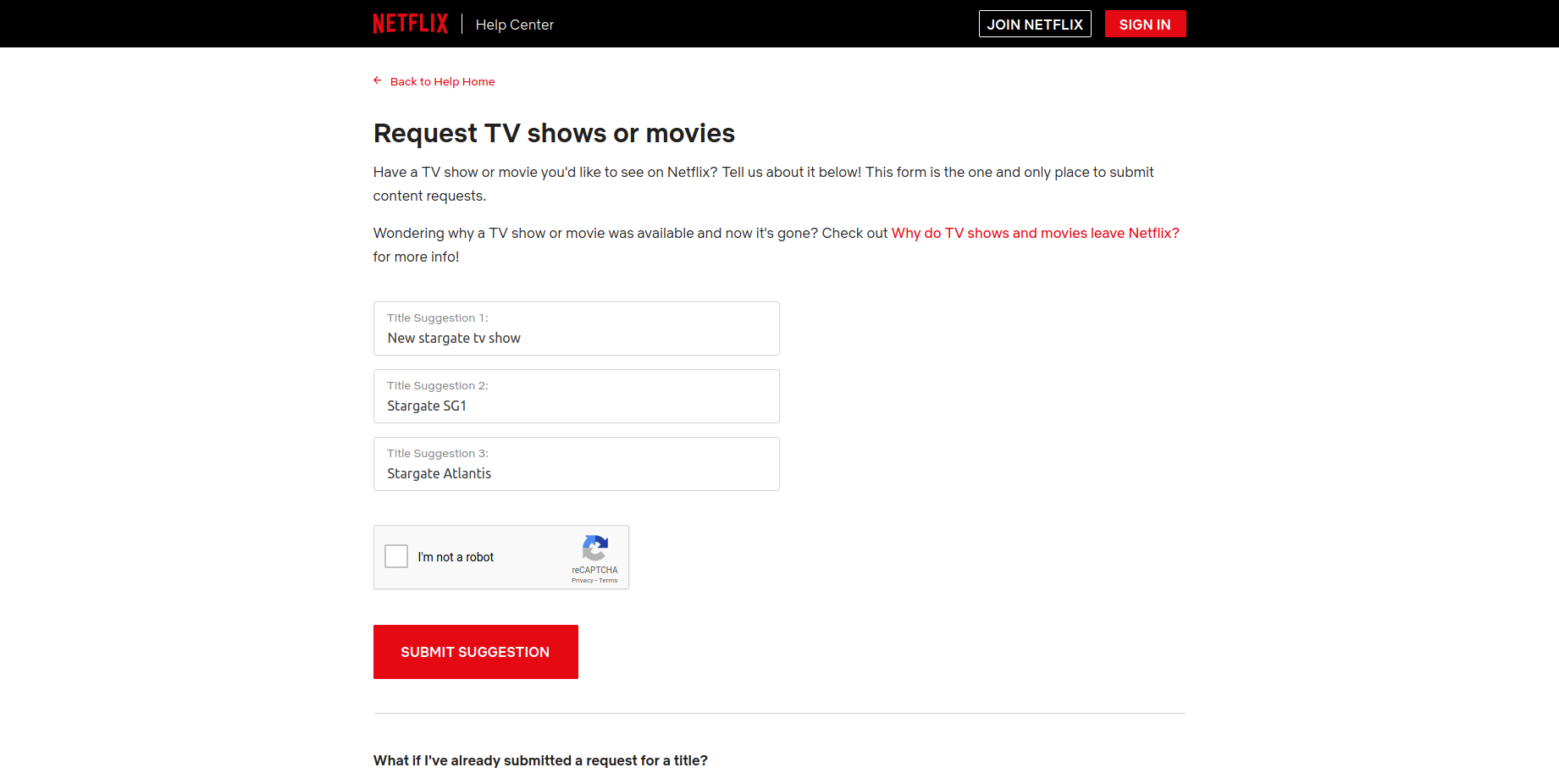 Netflix request step 1