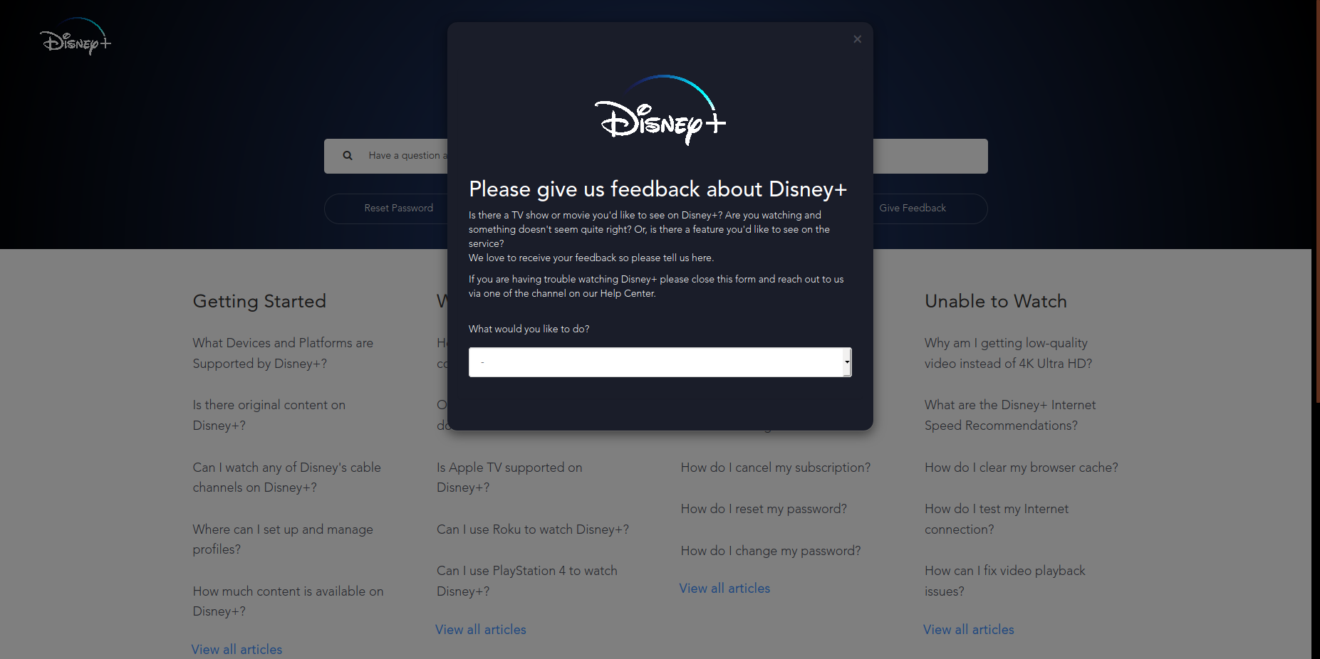 Request on disney+ step 2
