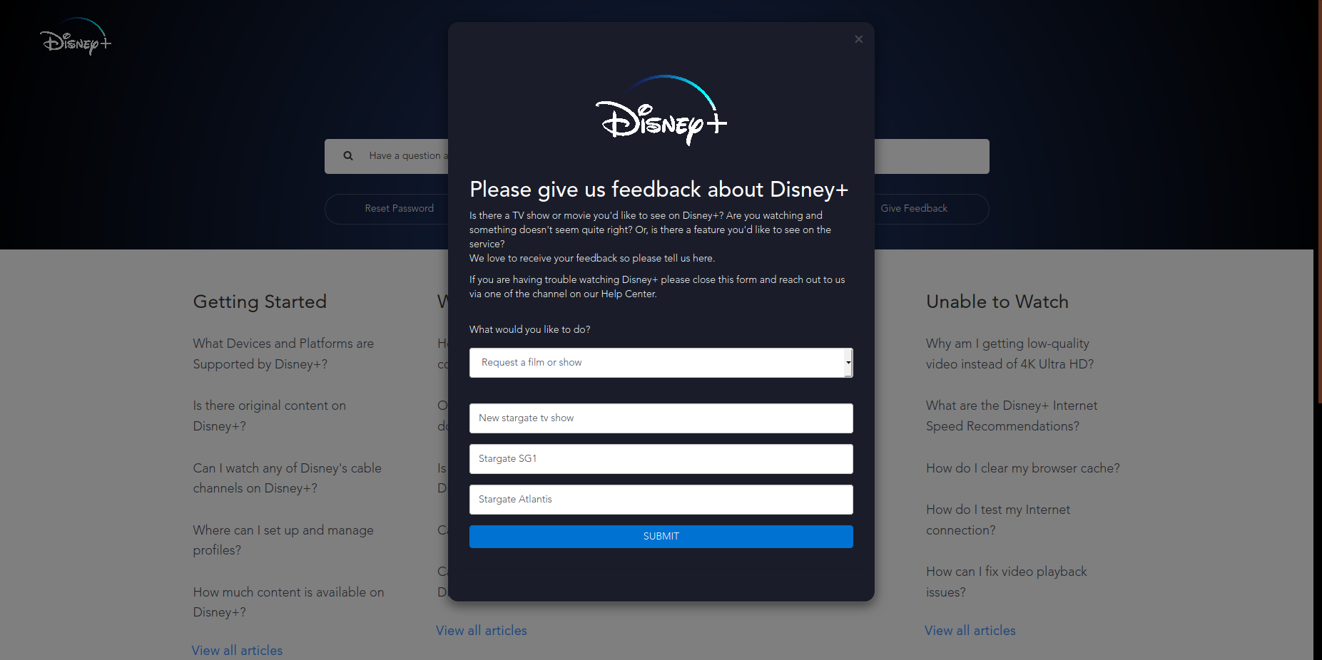 Request on disney+ step 3