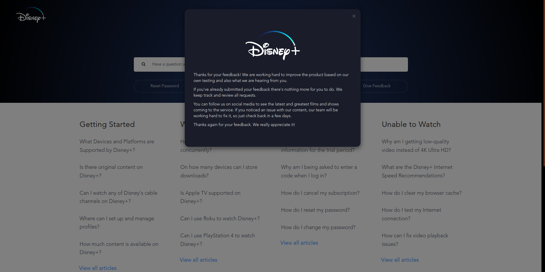 Request on disney+ step 4